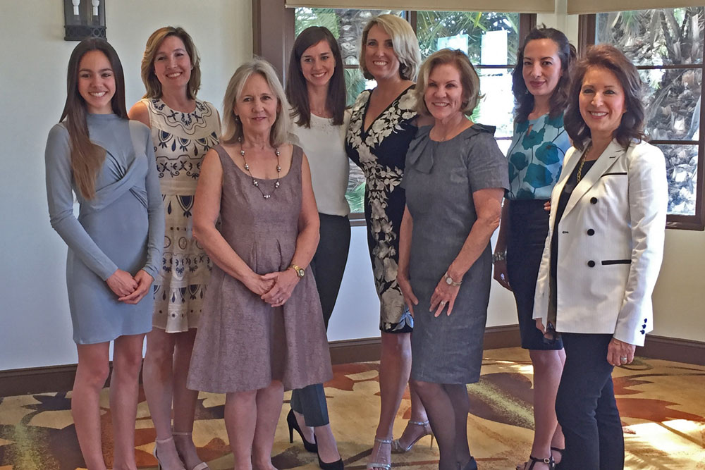 Eight local women who have enriched the Santa Barbara economy, politically, philanthropically and socially were recognized Thursday by the Santa Barbara Chapter of the National Association of Women Business Owners. They are, from left, Lyla Krock, Kristen Miller, Kris White, Marine Schumann, Anne Pazier,  Renee Grubb , Anna Lopez-Carr and Cam Gittler. (Kim Clark / Noozhawk photo)