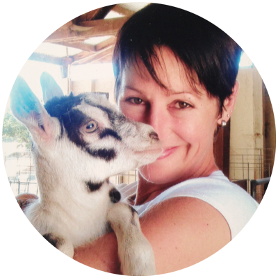 Deb, Founder of Goatlandia, with Mia the Goat.