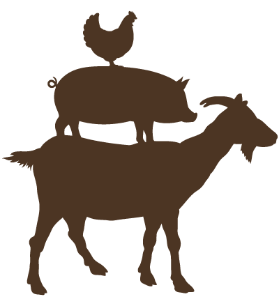 Silhouettes of goat, pig and chicken
