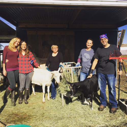 volunteers at Goatlandia Farm Animal Sanctuary, posing with goats.