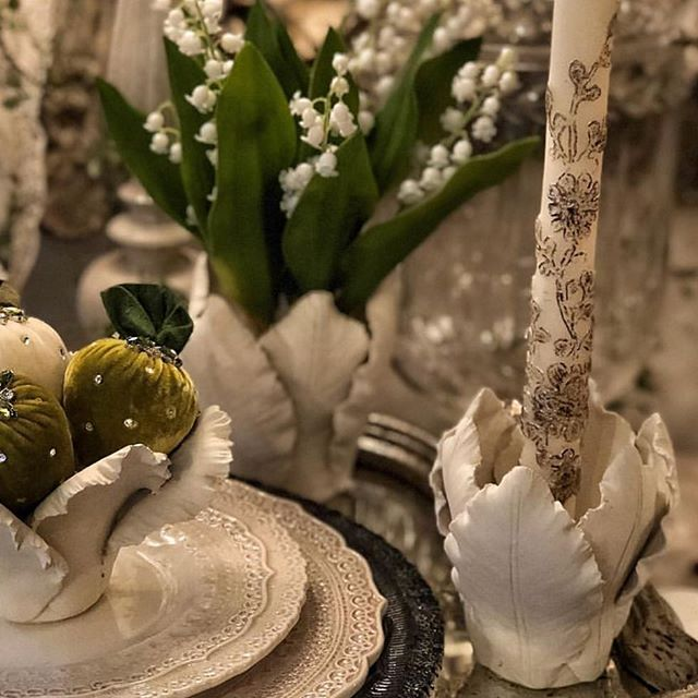 Lilly of the valley in our ceramic flower candle holder or our lace taper candle either works how wonderful is this 👏👏#ceramics #candles #flowers #decor #lifestyle #style #blogger #interior #chic #fun