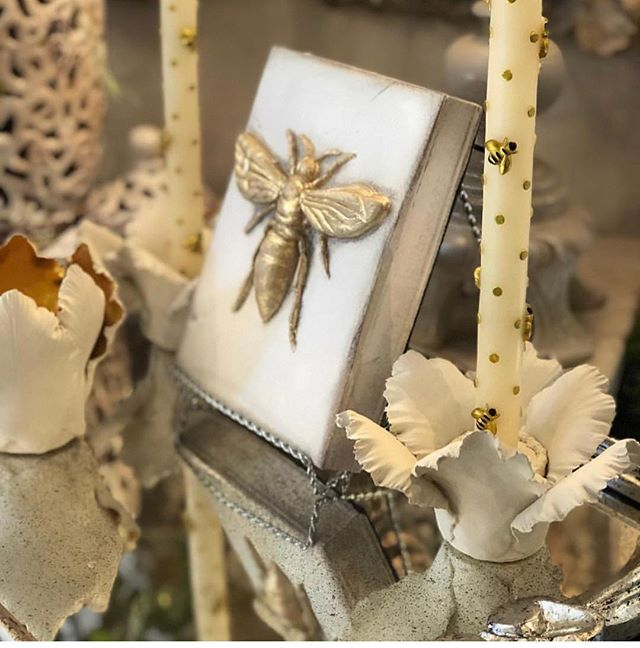 Our ceramic handmade flowers and bee tapers what a great post thank you @lenarduzzi_interiors_atelier #bees #flowers #livingroom #lifestyle #lifestyleblogger #decor #interior #accent #candles #holder #candleholder #chic #simple