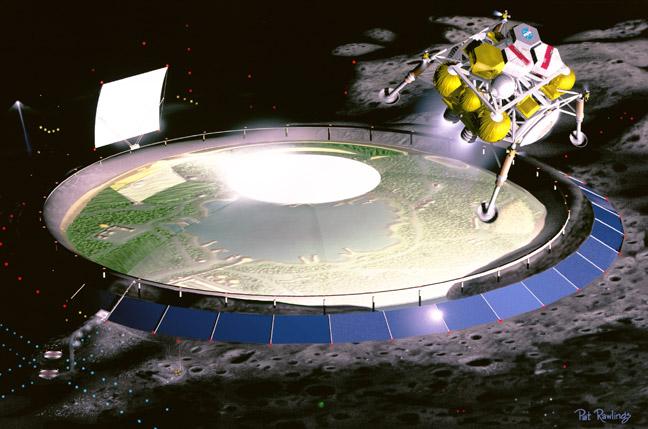 Domed lunar settlement illustration by Pat Rawlings, courtesy NASA.