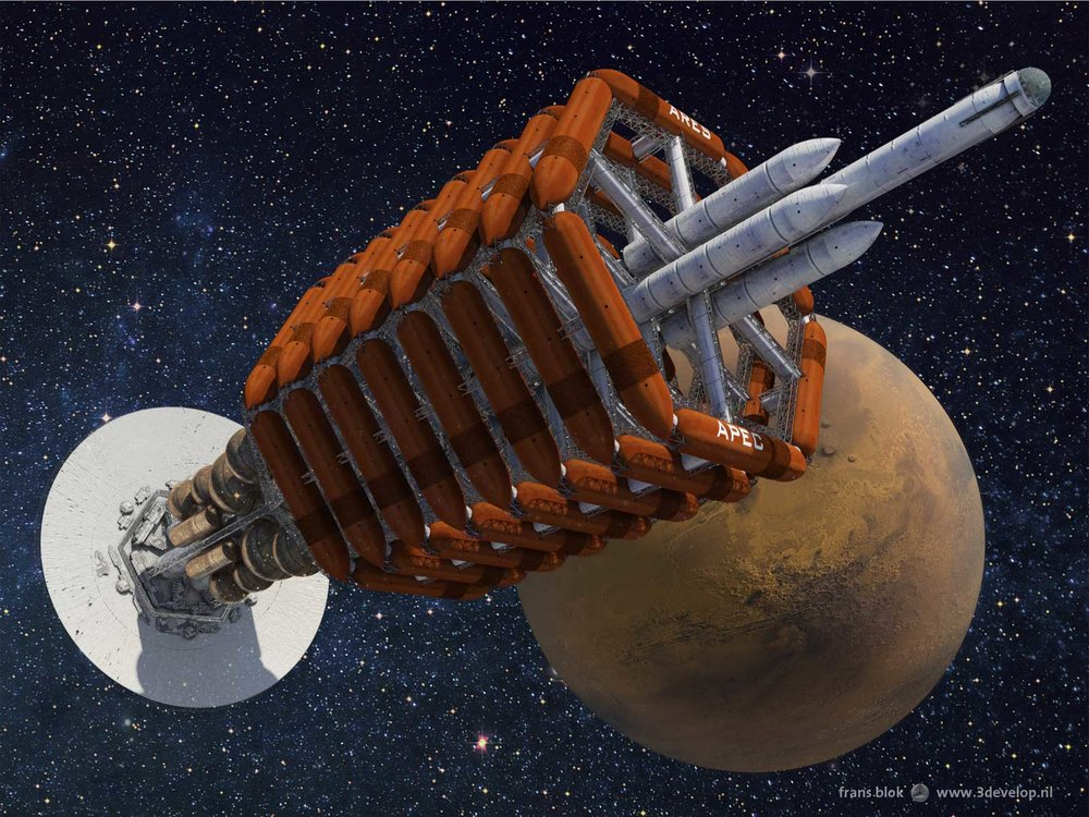 Artist's depiction of the  Ares spaceship from Kim Stanley Robinson's novel, Red Mars .
