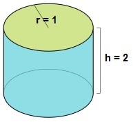 """Figure 1: A cylinder with height \(h=2\) and radius \(r=1\). The """"top"""" and """"bottom"""" pieces of the cylinder are removed."""