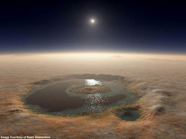 Artist's depiction of Fesenkov Crater on Mars filled with liquid water.