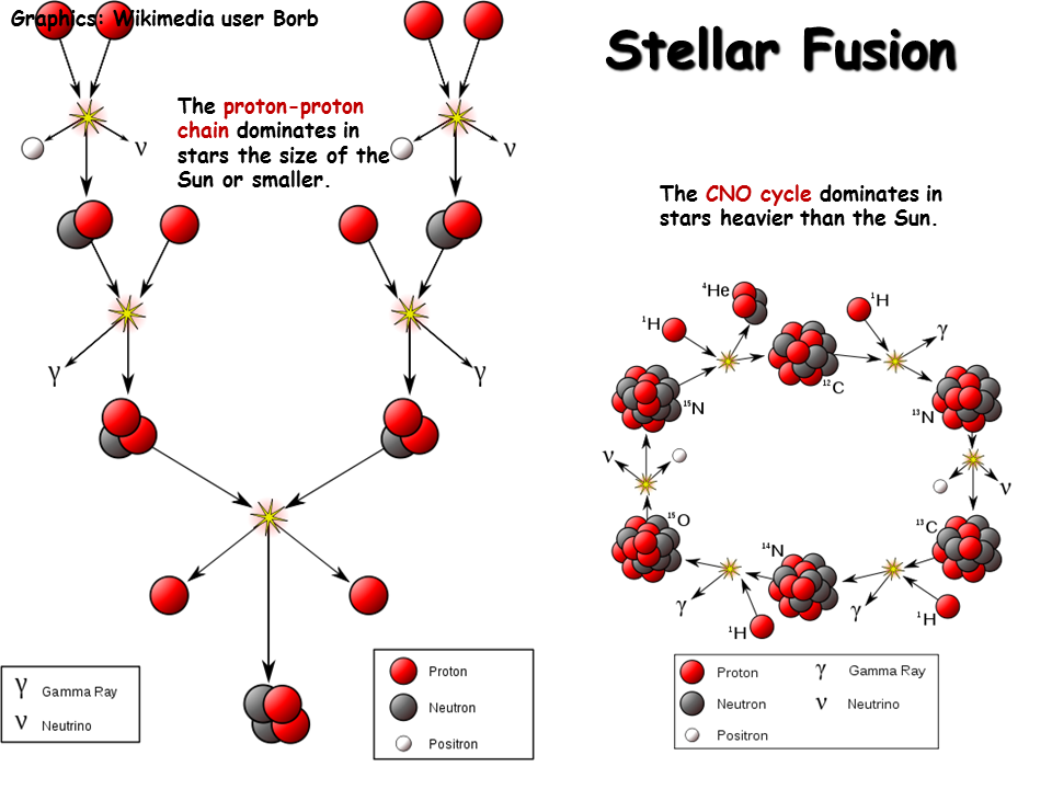 Figure 2: All stars in the universe generate light and energy by fusing lighter elements into heavier elements. For stars up to the mass of about that of our Sun, light and energy is created by fusing hydrogen into helium. The image above illustrates the chain of nuclear reactions which occur in small to medium sized stars and very massive stars that allow them to generate light and energy. Stellar fusion accounts for where many of the light to medium-sized elements in the periodic table come from.