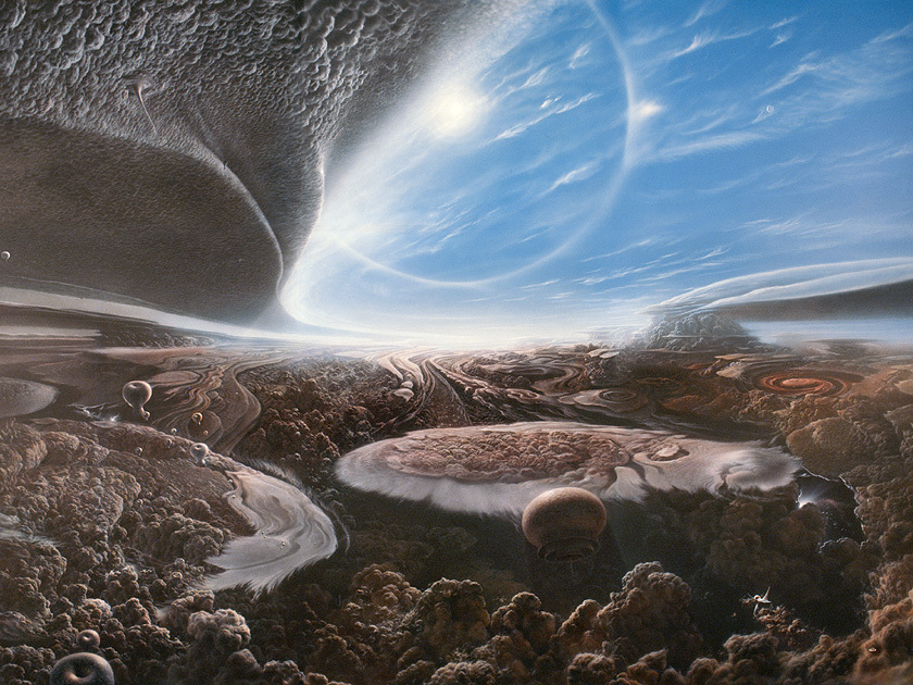 """Hunters, Floaters, and Sinkers   """"This painting speculates about possible forms of life on a Jupiter-like gas giant. Airbrushed water-based acrylic.""""\(^{[4]}\)  Image by Adolf Schaller."""