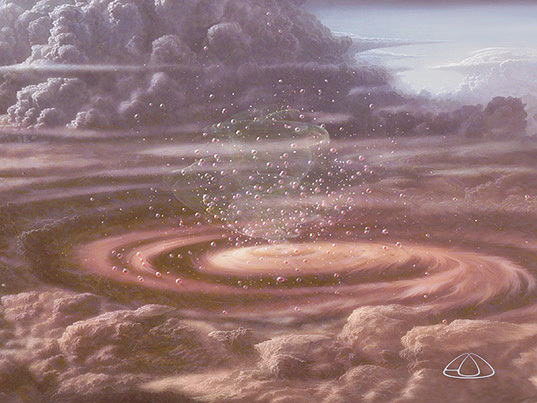 """A Lazy Herd of Floaters   """"An updated digital restoration by Adolf Schaller of detail in his original Hunters, Floaters, Sinkers mural which appeared on Cosmos, Episode 2, which speculates about life in the atmosphere of a gas-giant planet.""""\(^{[4]}\)  Image by Adolf Schaller."""