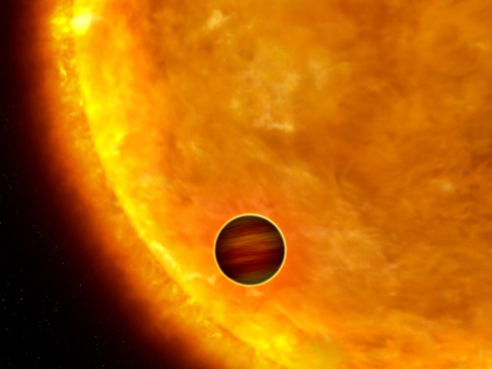 Artist's depiction of an exoplanet crossing our line of sight in front of its home-star.
