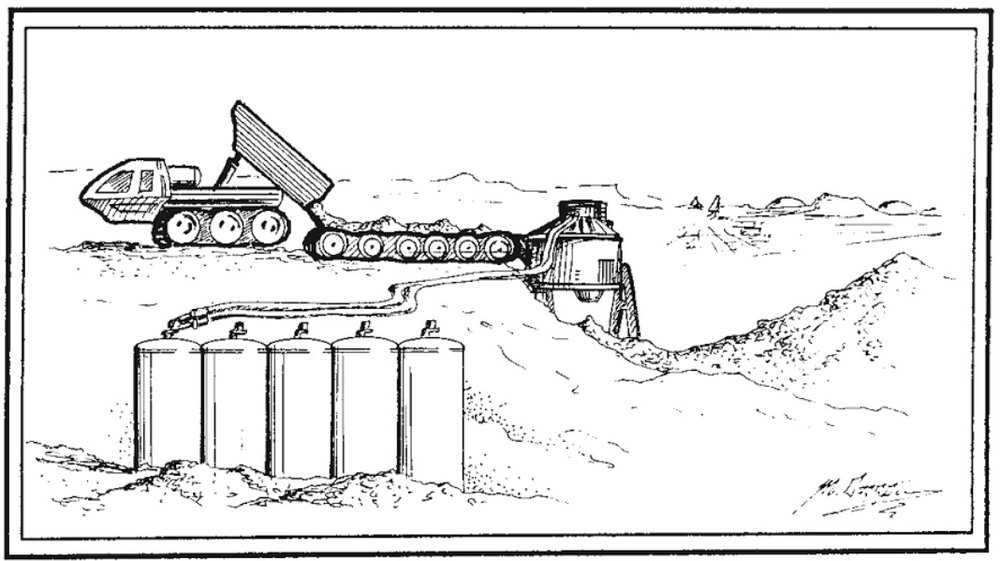 """Truck, oven, and slag pile system for extracting water from Martian soil.""\(^{[2]}\)  Artwork by Michael Carroll."