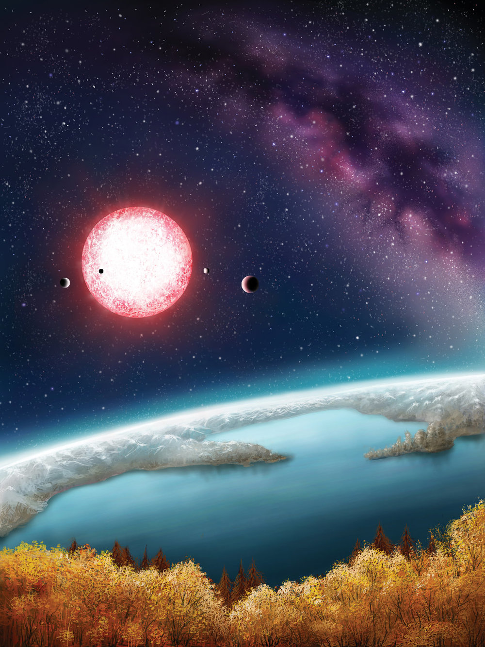 Artist's impression of the Archipelago world, Kepler 186f.  Credit: Danielle Futselaar