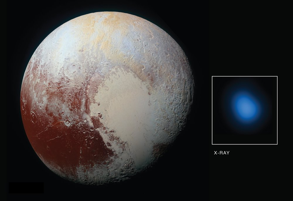 X-ray image of Pluto obtained by Chandra X-Ray Observatory (blue spot on right) and up-close photograph of Pluto obtained by the spacecraft Deep Horizons as it flew by Pluto.