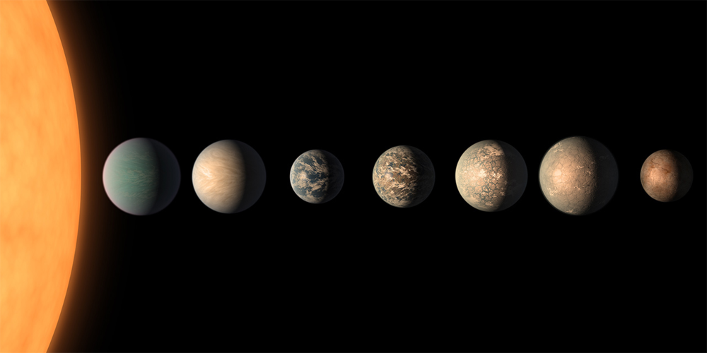 This artist's concept shows what the TRAPPIST-1 planetary system may look like, based on available data about the planets' diameters, masses and distances from the host star. Credits: NASA/JPL-Caltech     View full image and caption