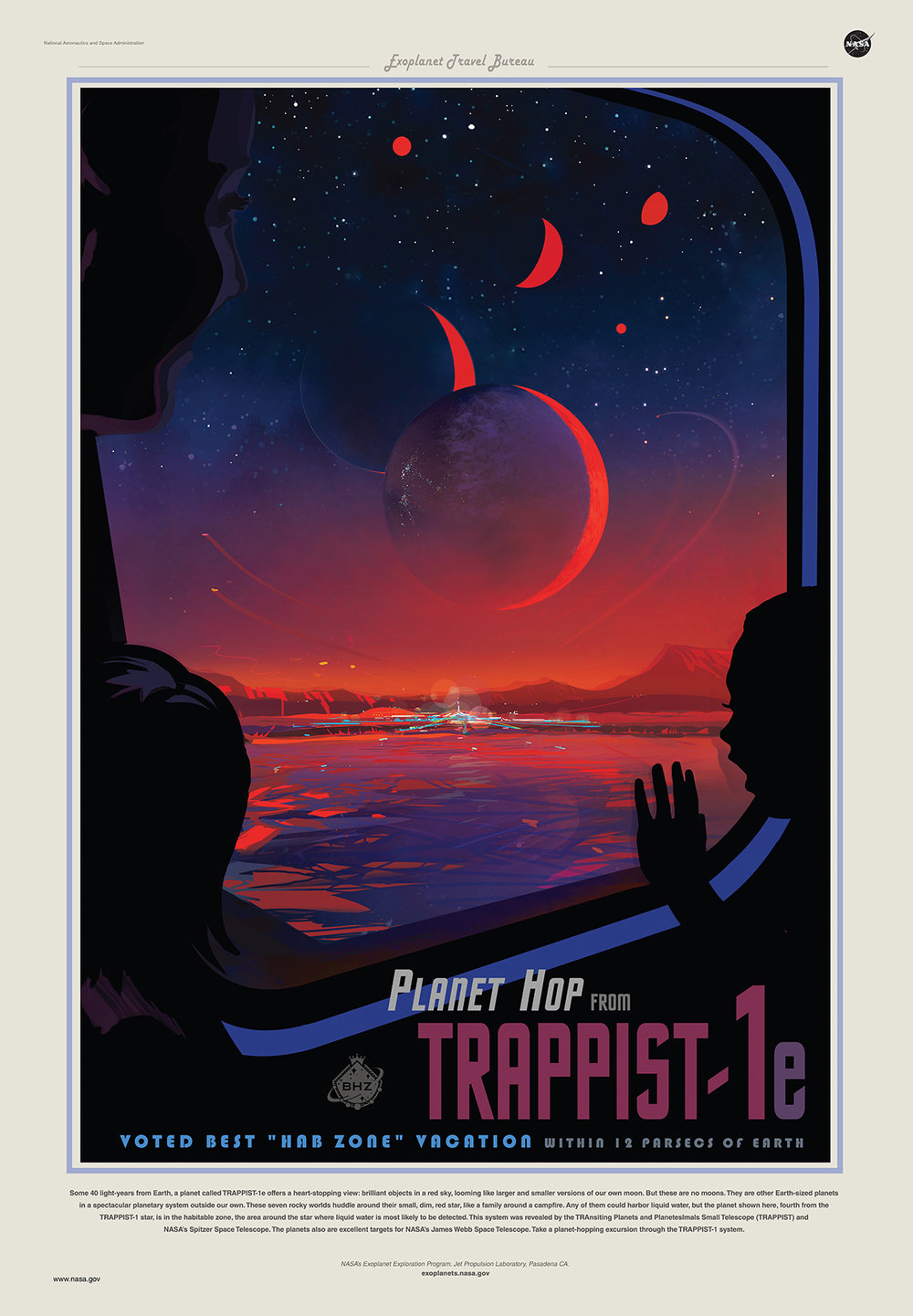 This poster imagines what a trip to TRAPPIST-1e might be like.    Credits: NASA/JPL-Caltech      View full image