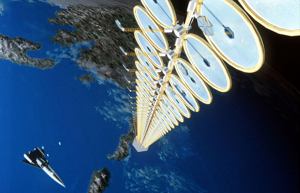 Artist's depiction of solar panels attached to a space elevator.