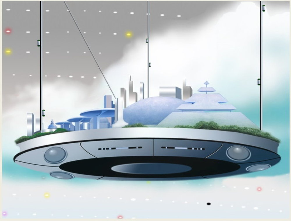 """""""Full cities could hang from the top of the shell that holds in the newly terraformed world's atmosphere.""""\(^{[27]}\) Image uploaded Oct. 7, 2013.  Credit: Ken Roy/Tennessee Valley Interstellar Workshop"""