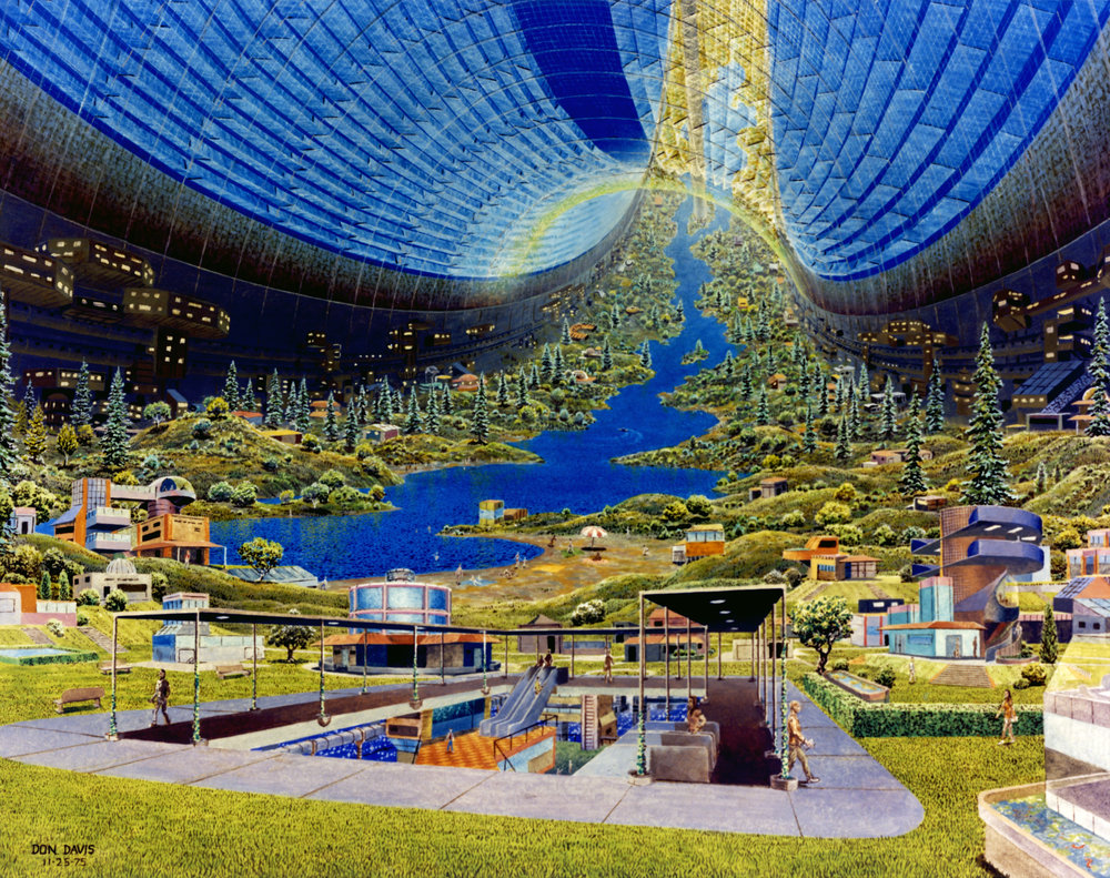 Artist's depiction of the interior of a Stanford torus.  Painted by Donald E. Davis.