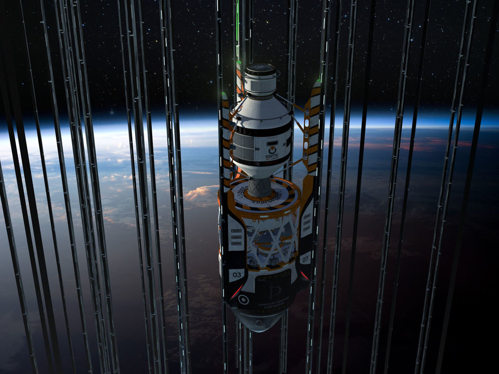 """""""Damocles is a large space port and elevator hub with stations fixed on [E]arth, located in an enormous, peaceful and very prosperous city, in a not-so-distant future.""""\(^{[2]}\)   In the year 2117 the most economical way to send people and cargo to outer space is using a space elevator. It's not the quickest option but a very practical and effective one. Just like other similar Orbitowers placed on the Equator, the Damocles elevator hub provides this service.  Space freight elevators are crucial to carry large components of interplanetary and the earlier interstellar vehicles into orbit, so they can be assembled in space instead of being launched by rockets.   Autonomous trucks and cars arrive at the base's ground to take passengers and cargo to the space elevator cabs. Flying vehicles land on the pads. The building itself is headquarters for many logistics companies, there are some offices and a hotel.""""\(^{[2]}\)  Artwork by Sergio Botero at Artstation. \(^{[2]}\)"""