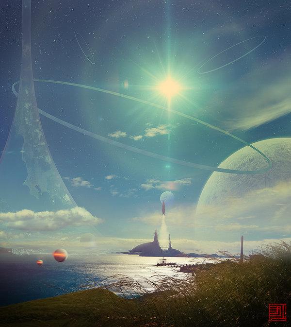 Artist's depiction of a ring world.  Image credit: https://www.deviantart.com/julian-faylona/art/Halcyon-Days-423868574