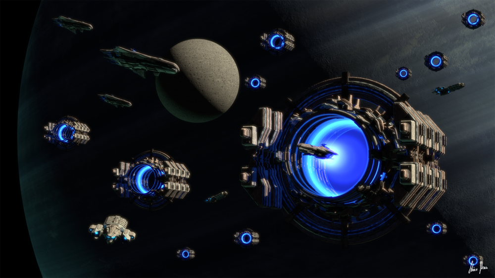 Artist's scifi depiction of a galactic empire using portals to travel across space.\(^{[30]}\)  Image credit: https://www.deviantart.com/lorddoomhammer/art/Galactic-Network-594726702