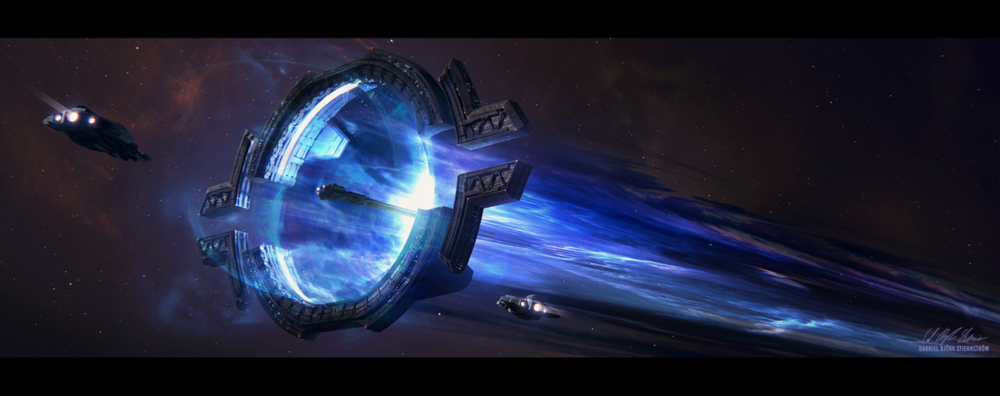 """""""Two hubs that can connect to create a temporary Warp Lane in your system The Warp Lane Hub can be connected to another Hub for one day, for a fixed Hydrogen cost. Once connected, ships can travel between the two end points instantly and without consuming Hydrogen.""""\(^{[31]}\)   Image credit: https://www.deviantart.com/gabrielbstiernstrom/art/Hades-Star-Warp-Lane-Hub-680163129"""