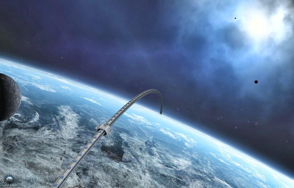 Artist's depiction of an orbital ring.