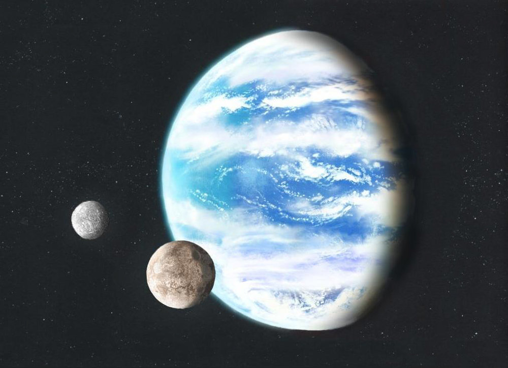 Artist's illustration of a hypothetical ocean planet with two natural satellites. Image credit:  https://commons.wikimedia.org/wiki/File:Oceanplanet_lucianomendez.JPG