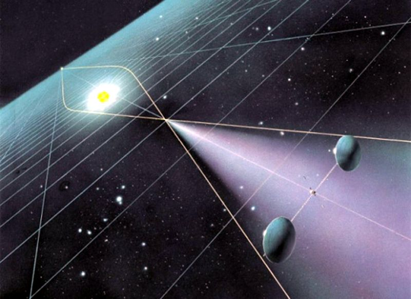 A gravitational lens telescope, as envisioned by Claudio Maccone in his 2009 book   Deep Space Flight and Communications  . (Claudio Maccone)