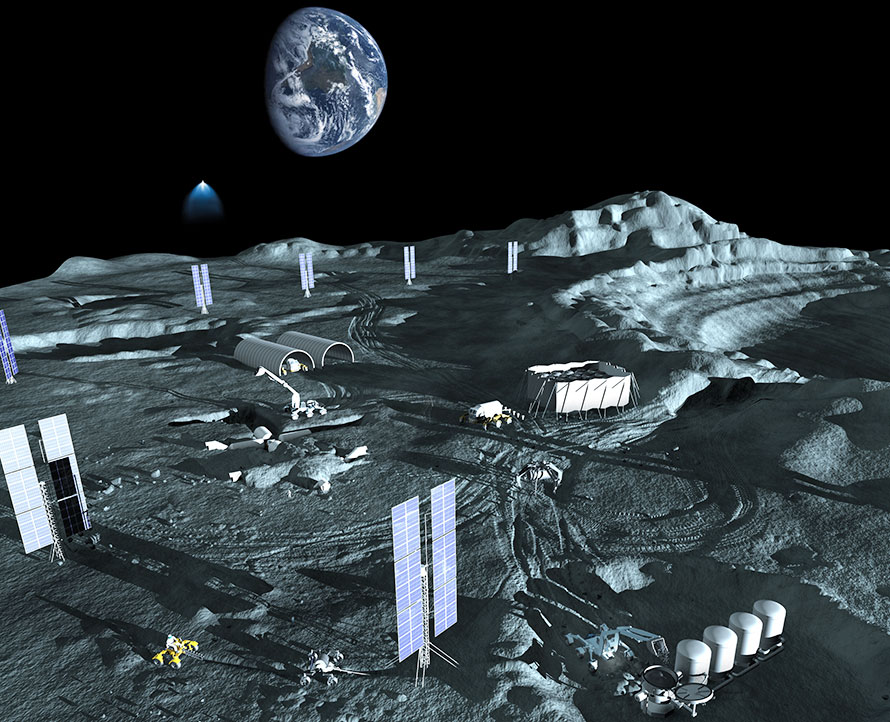 The power requirements of buried human habitats and propellant production plants could be met by the widely spaced solar power panels shown above.  Image:anna.j.nesterova@gmail.com