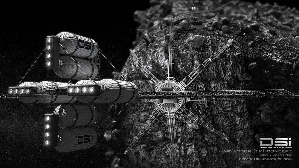 "Concept art for DSI's ""Harvestor"" craft. Credit and Copyright: Bryan Versteeg / DSI."