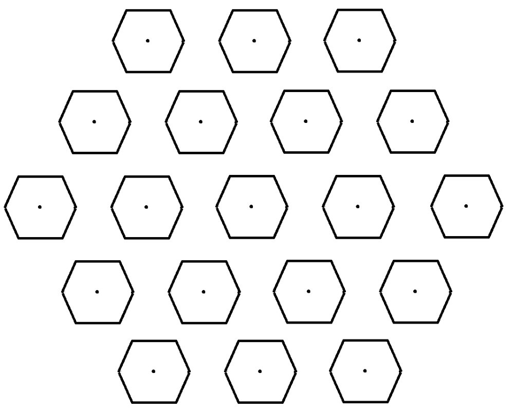 """""""Each of the hexagons in this figure represents one of the mirror farms shown in [previous image]. The dots are schematic representations of the habitats occupied by each twent-five-member """"band."""" in reality the habitats would probably be much too small to be seen on this scale.""""\(^{[37]}\)"""