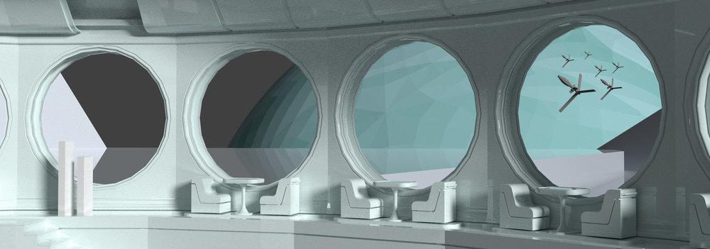 """Civilians watch a small fleet orbit around Uranus' moon Miranda."" Credit:  https://www.artstation.com/artwork/mqZVx9"