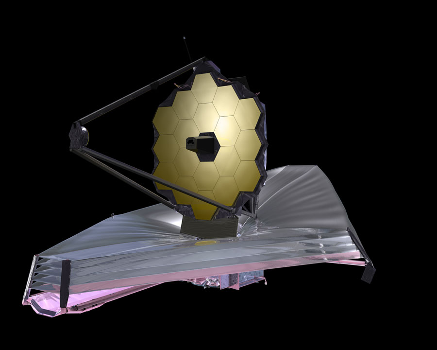 Illustration of the  James Webb Space Telescope , current as of September 2009. Top side. Image Source:  https://web.archive.org/web/20100527230418/http://www.jwst.nasa.gov/images_artist13532.html