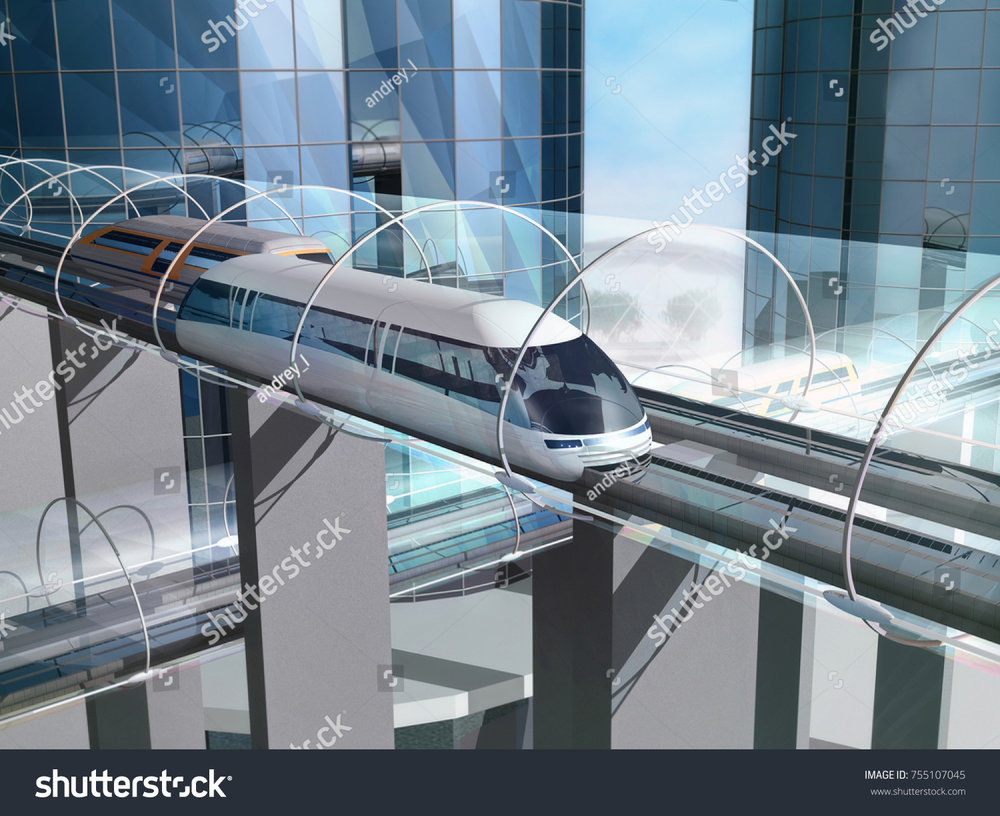 The image above portrays how large buildings (which could be arcologies that people live in) could be connected by maglev trains operating within evacuated tunnels. Image Credit:  https://www.shutterstock.com/image-illustration/concept-magnetic-levitation-train-moving-on-755107045