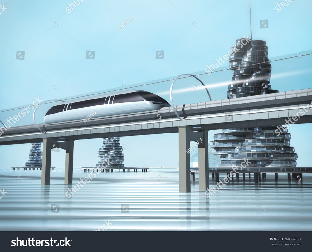 Arcologies on the surface of the sea could be connected by maglev transportation systems. As we discuss in the article, How to Colonize the Earth?, these sea-steading towers would extend within the depths of the oceans; the cities underneath the sea surface could also be connected by maglev monorail systems. Image Credit:  https://www.shutterstock.com/image-illustration/train-moving-on-overpass-city-water-769589683?src=l4eCjvmchovnXUJuJH_WrQ-1-29