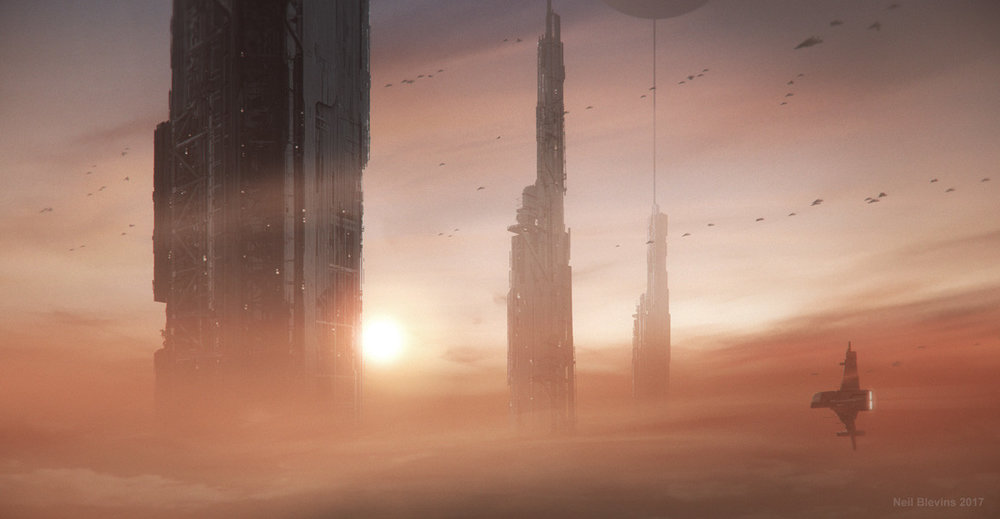 Artist's depiction of gas giant refineries used to extract materials such as helium-3 and deuterium from the atmosphere of one of the Jovian planets.   Artwork by Neil Blevins at Artstation.