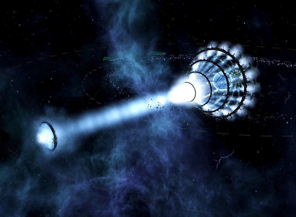 "Nicoll-Dyson Beam   ""Unleashing The Nicoll-Dyson Beam from Gigastructural Engineering & More. Inward Perfection has never been so easy when you can delete your enemies Capital systems with the press of a button.  Edit: It also has multiple settings. Ranging from reducing all infrastructure to rubble to Solar System Deleter.""   Image retrieved from:    https://www.reddit.com/r/Stellaris/comments/8qgwe9/fear_me_for_i_am_your_apocalypse/"