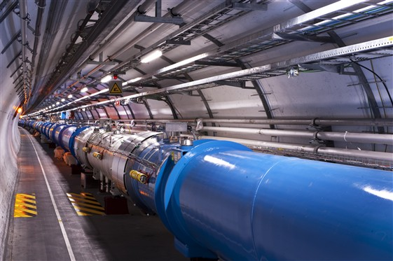 The image above shows a section of the  LHC (Large Hadron Collider) .