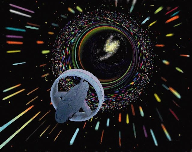 """An artist's interpretation of utilizing a wormhole to travel through space, Thorne kick-started a serious discussion among scientists about whether or wormhole travel is possible.""\(^{[1]}\)   (Image: © NASA)"