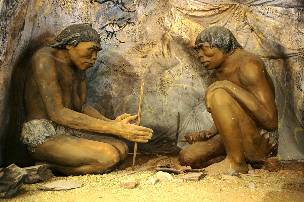 """A diorama showing   Homo erectus  , the earliest human species that is known to have controlled fire, from inside the National Museum of Mongolian History in Ulaanbaatar, Mongolia.""\(^{[1]}\)"