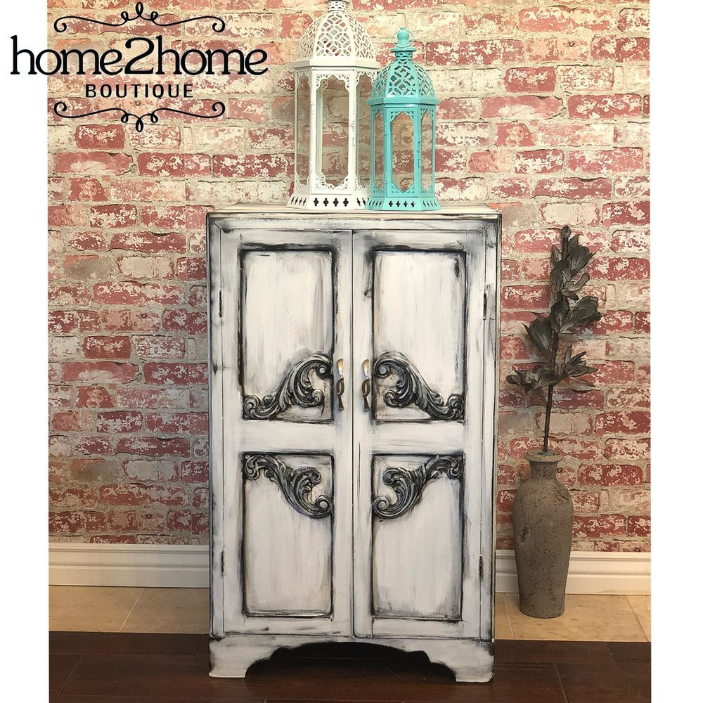 BEAUTIFUL CUSTOM PAINTED & ANTIQUED ANTIQUE CABINET $130