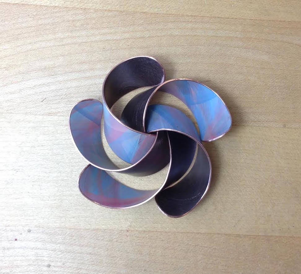 Untitled sculptural object, copper and paint, 2015.