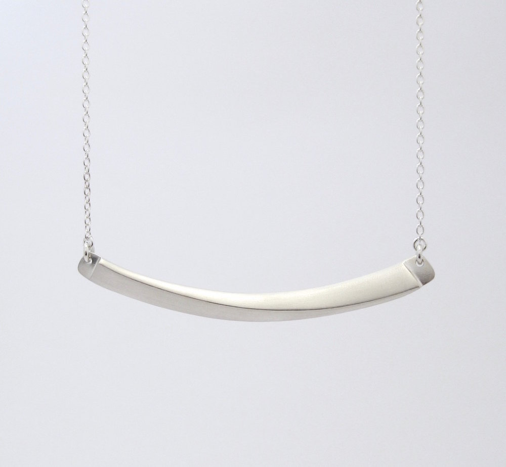 Horizon Line Necklace, sterling silver.