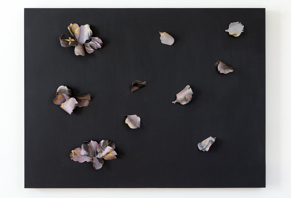 """(2018) Withered and Wiser  Copper and paint, mounted on 18"""" x 24"""" wood panel."""