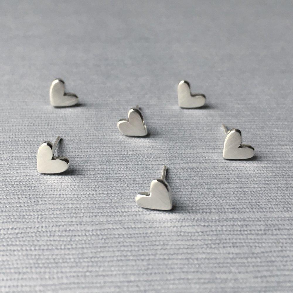 Tiny sterling silver heart stud earrings