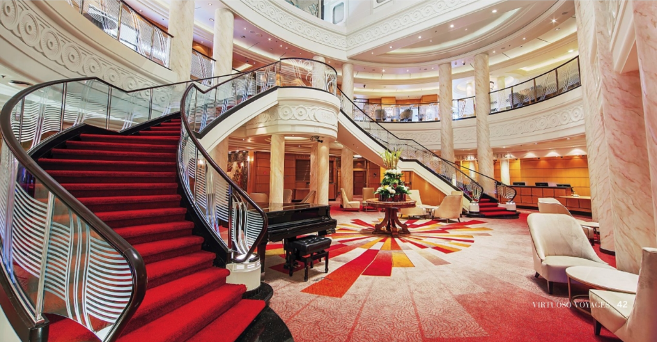 The grand lobby on Cunard's  Queen Mary 2.