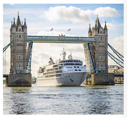 Silversea's  Silver Wind  says hello to London's Tower Bridge