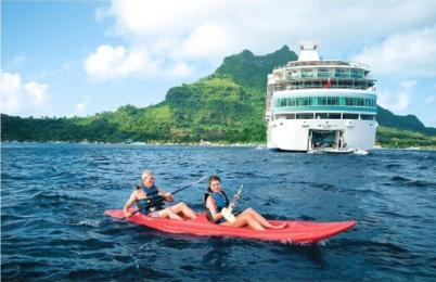 Kayaking in the South Pacific on a Paul Gauguin Cruises sailing.
