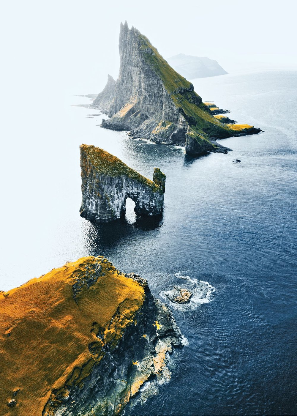 The Drangarnir sea stacks, off the coast of Vágar in the Faroe Islands.    Photo by Franck Reporter/Getty Images